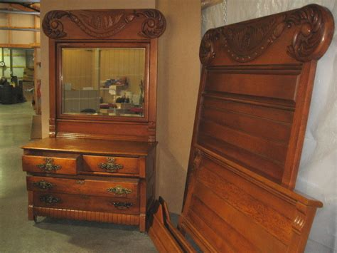 Extra Nice Antique Hi Back Bed Dresser With Massive Antique Beds For Sale