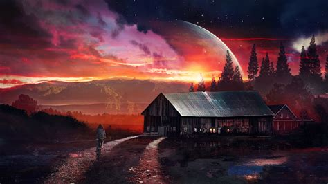 science fiction night house planet red wallpapers hd