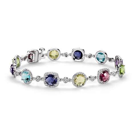 robert leser multi gemstone confetti halo bracelet in 14k