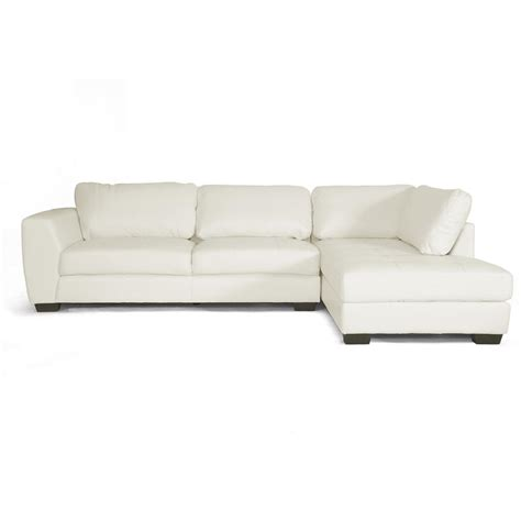 poundex 2 pieces faux leather sectional right chaise sofa baxton studio orland 2 piece contemporary white faux