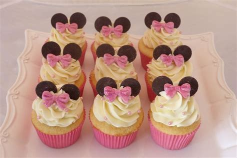 Cupcake Buttercream Birthday Package minnie mouse cupcake for childs birthday vanilla cake with vanilla buttercream fondant bows pink