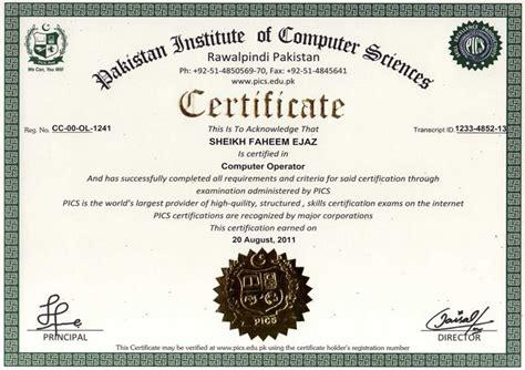 pics  sample certificates