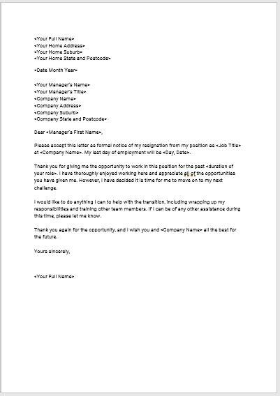 seeks standard resignation letter template