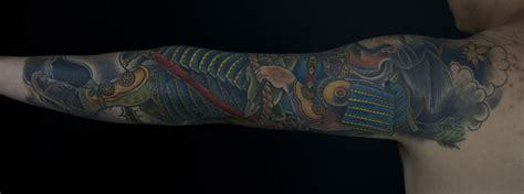 japanese geisha and samurai sleeve mark thompson tattoo