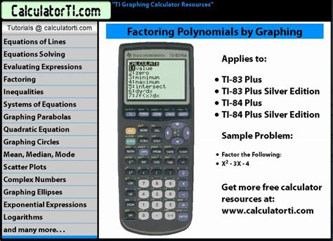 calculator factor ti tutorials factoring polynomials by graphing ti 83 ti
