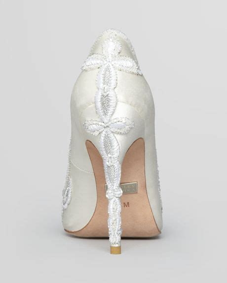 white pointed toe high heels badgley mischka pointed toe balance embroidered high