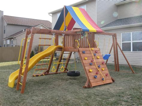 high end swing sets michigan redwood play set restoration play system sealing