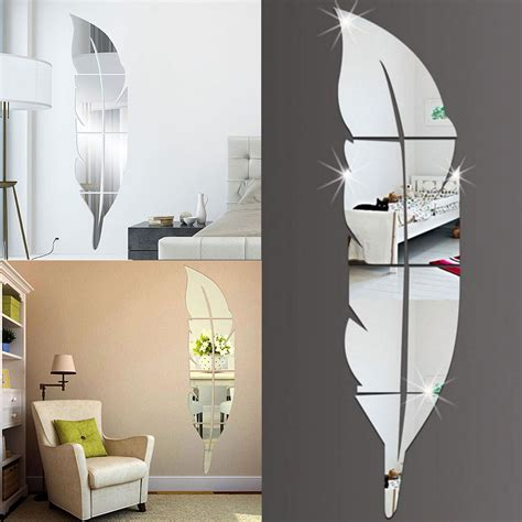 diy modern feather acrylic mirror wall sticker home decor