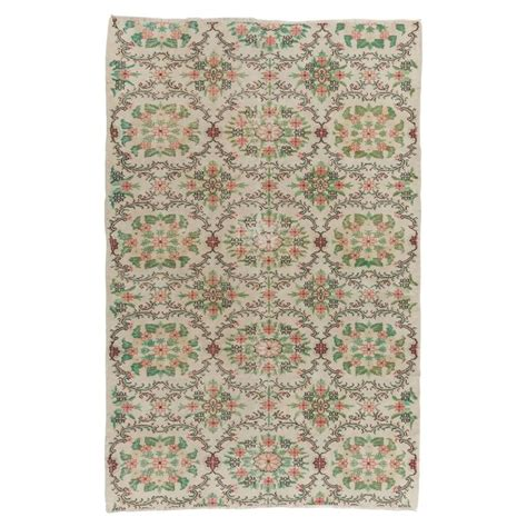 soft pink area rug floral mid century anatolian rug in soft pink green and beige colors for sale at 1stdibs