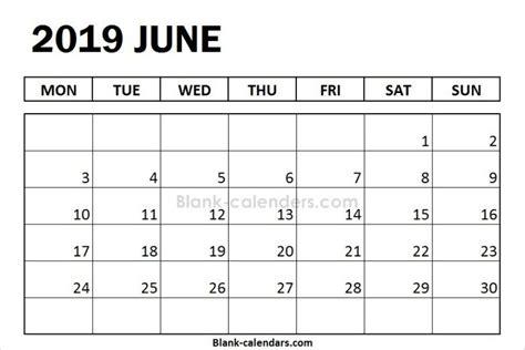 blank june calendar  monday start  calendar
