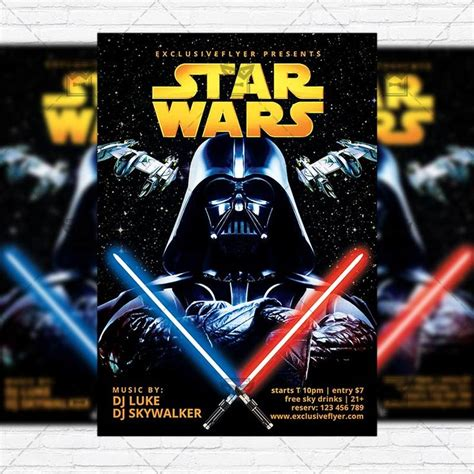 star wars free club and party flyer psd template http