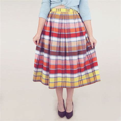 50s colorful plaid pleated school cotton skirt 31