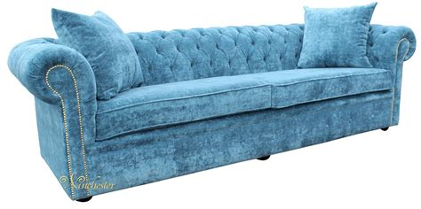 Teal Chesterfield Sofa Chesterfield 4 Seater Settee Elegance Teal Velvet Fabric Sofa Offer