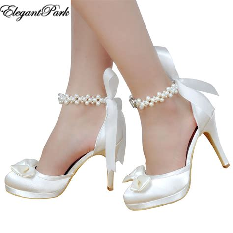 White Wedding Shoes by High Heel Wedding Shoes White Ivory Toe