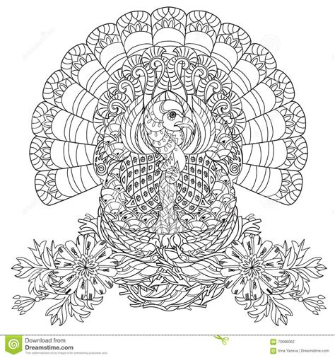 turkey doodle coloring page hand drawn doodle outline turkey stock illustration