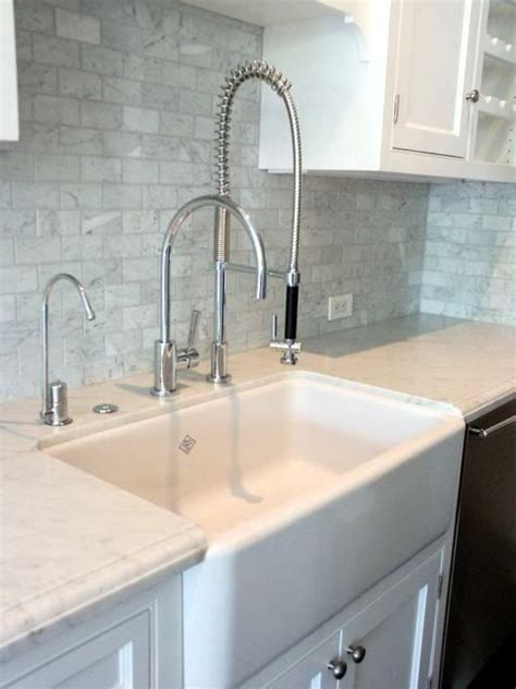 commercial kitchen backsplash farmhouse sink and commercial grade faucet kitchen