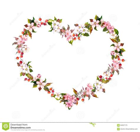 Wedding Border Hearts by Floral Border Shape Flowers Watercolor