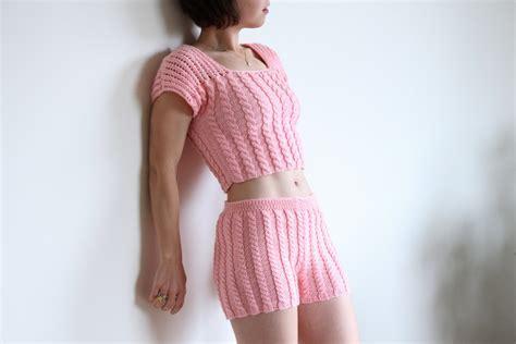 knitting pattern underwear fashion knit lingerie women knitted underwear pink knitted