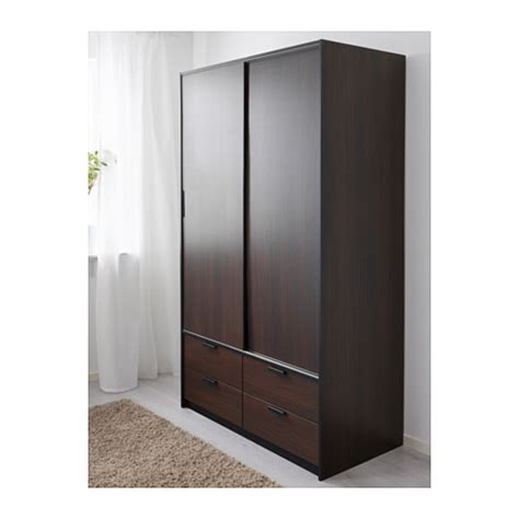 Brown Wardrobes by Trysil Wardrobe W Sliding Doors 4 Drawers Brown