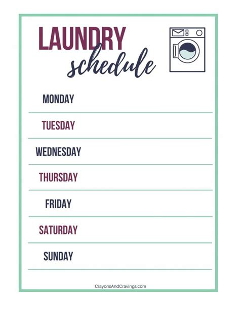 printable laundry schedule laundry routine tips laundry schedule printable