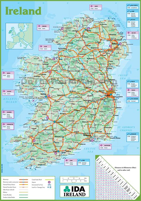 Printable Road Maps Ireland | printable map of ireland printable maps