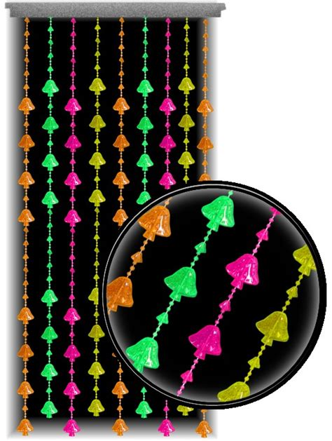 beaded curtains black light reactive neon mushrooms door