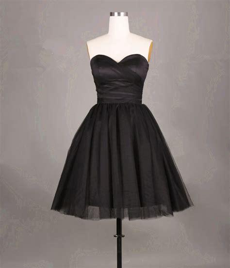 pretty simple  cute black short tulle prom dresses