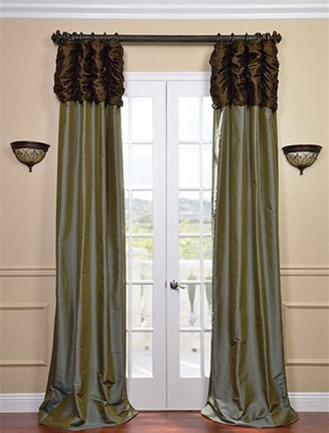Brown And Blue Curtains Panels Ruched Thai Curtain Chocolate Brown Header Sea Blue Panel Traditional Curtains San