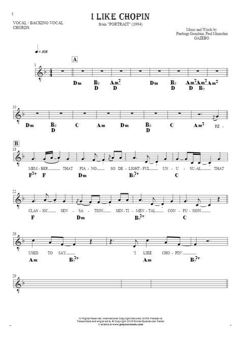 gazebo i like chopin lyrics i like chopin notes lyrics and chords for vocal with