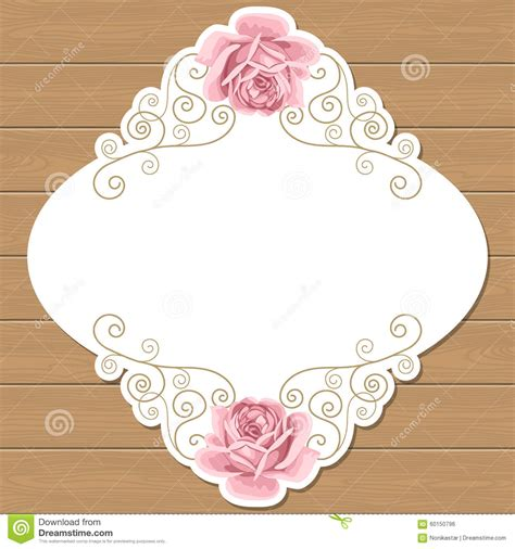 Shabby Chic Gift Card Template by Wood Background With Roses Stock Vector Illustration Of