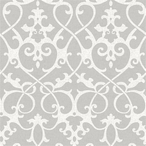 grey wallpaper lowes shop nuwallpaper 30 75 sq ft grey vinyl damask peel and