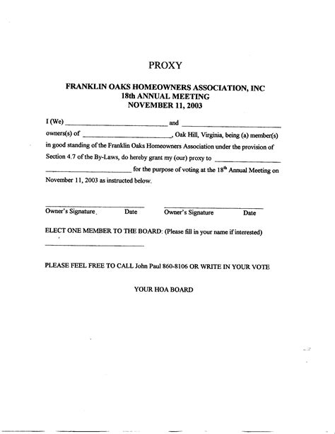 Index Of Documents Proxy Form Template