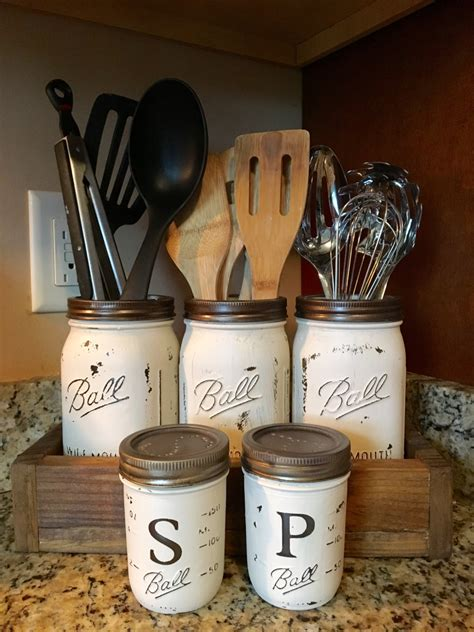 Wine Kitchen Canisters utensil mason jar holder with salt and pepper shaker option