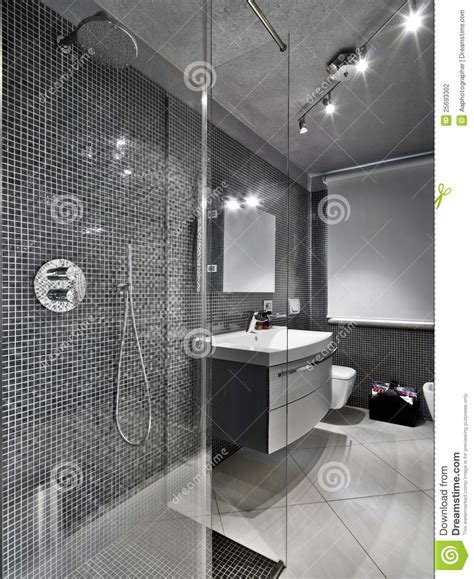 modern bathroom with glass shower cubicle stock photo