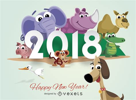 new year 2018 animal and color animals 2018 new year greeting card vector
