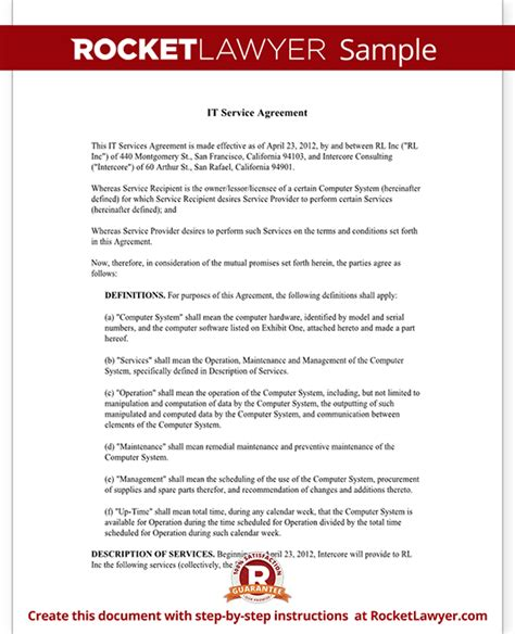Service Agreement Letter Format It Service Contract Agreement Template With Sle