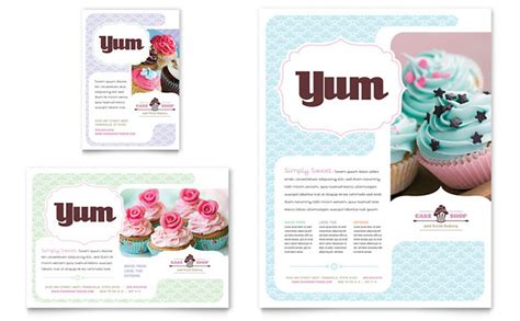 cake flyer template free bakery cupcake shop flyer ad template design