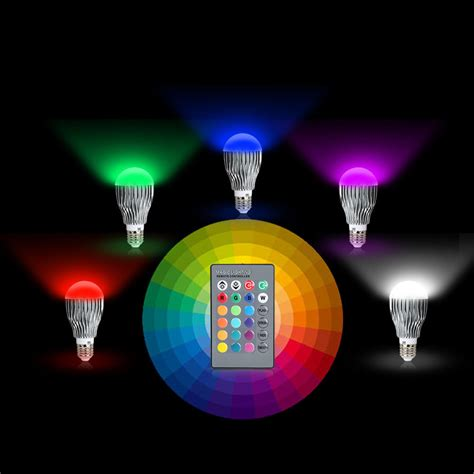 Coloured Led Light Bulbs 16 Colors Changing 9w Magic E27 Rgb Led L Light Bulb Ir Remote Eds Ebay