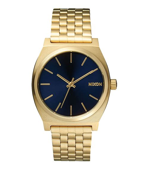 nixon gold tone time teller stainless steel in