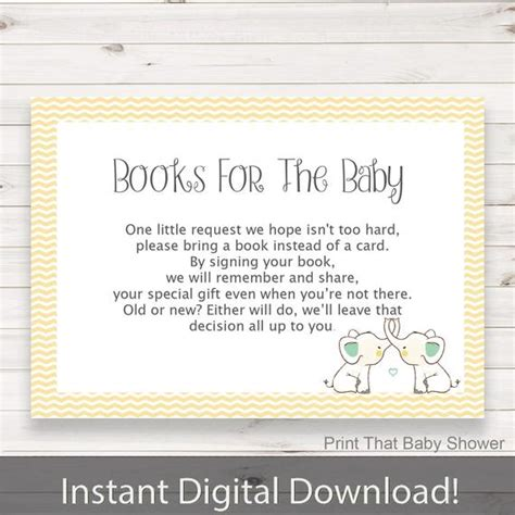 Baby Shower Invitation Insert Yellow Elephant Books For Baby Baby Shower Invitation Inserts Templates