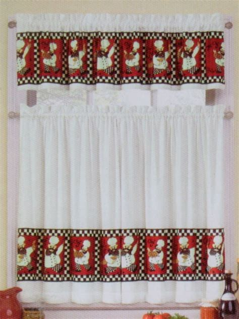 Chef Kitchen Curtains Set Italian Bistro Chef Black White Kitchen Window Curtains Valance