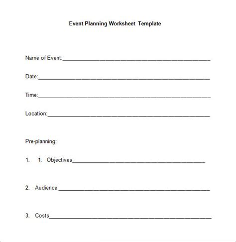 event planning worksheet template 5 event planning worksheet templates free word