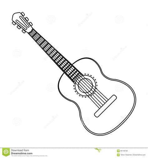 Acoustic Guitar Outline Drawing by Acoustic Guitar Icon In Outline Style Isolated On