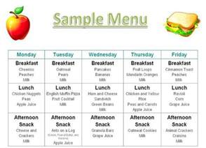 Preschool Menu Template by Printable Menus Daycares Home Daily Schedule Tuition