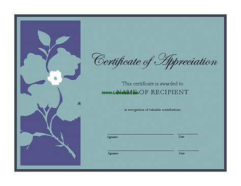 certificate of appreciation microsoft publisher templates