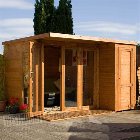 12 x 8 ft wooden t g contemporary summerhouse w integrated side shed westmount living
