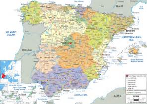 map of spain a southern european country map includes