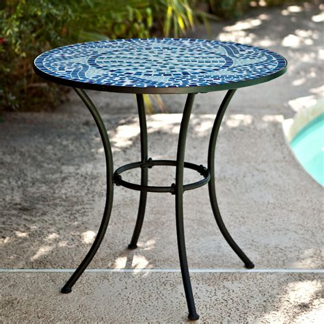 Bistro Patio Tables Coral Coast Marina Mosaic Bistro Table Patio Dining Tables At Hayneedle