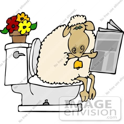 Which Uses More Water A Bath Or A Shower sheep using a toilet clipart 12481 by djart royalty