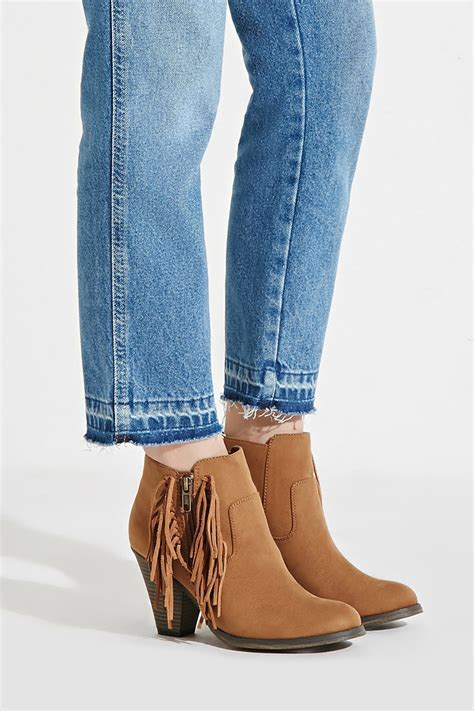 fringe boots forever 21 forever 21 linsie fringe booties in brown lyst